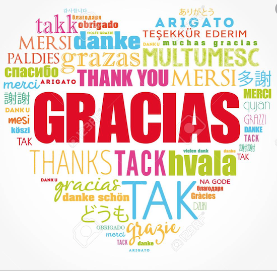 Gracias, Thank you, danke in multiple languages shaped like a heart