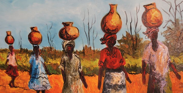 Drawing of african women carrying water on head