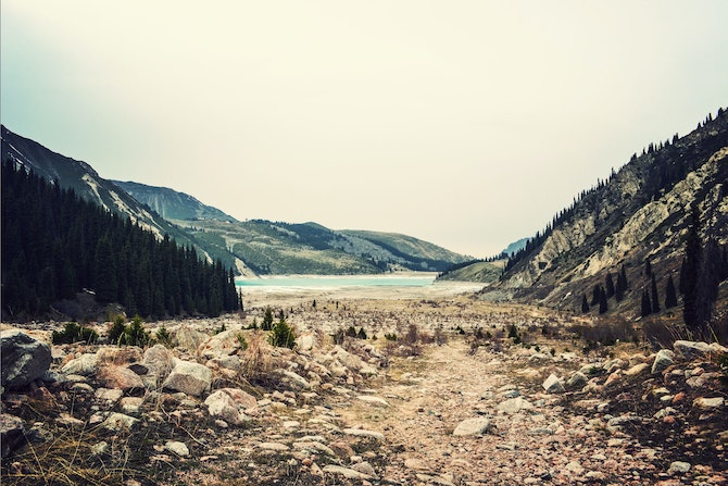 Mountain with lake